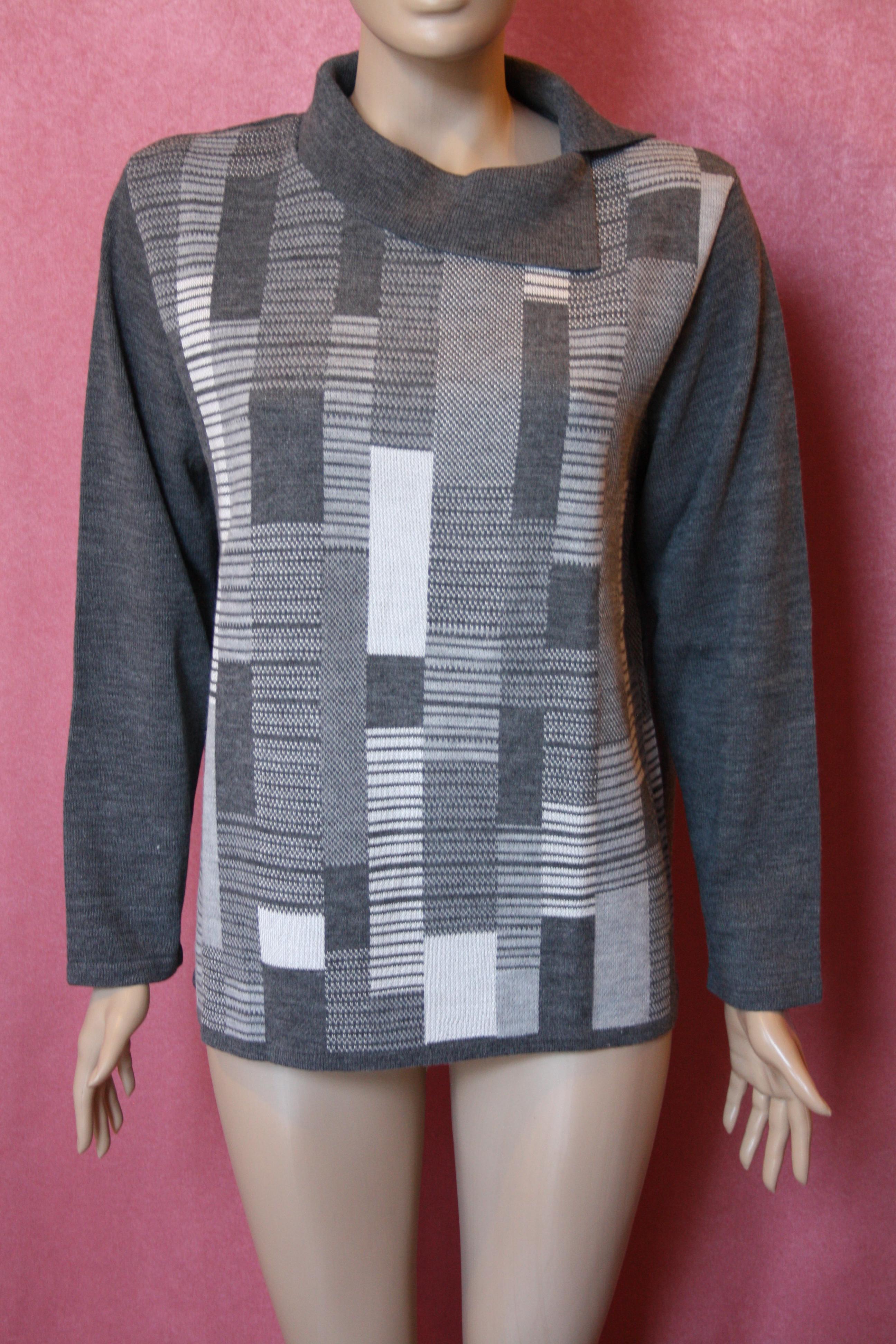 TEXTIL szürke kötött pulóver 7f075fe7eb